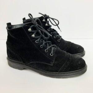 Paul Green Black Suede Combat Ankle Boots US 7